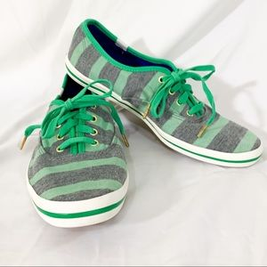 Kate Spade Keds- green and gray thick stripes